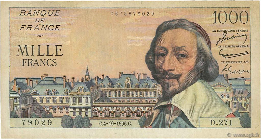 1000 Francs RICHELIEU FRANCE  1956 F.42.22 TTB