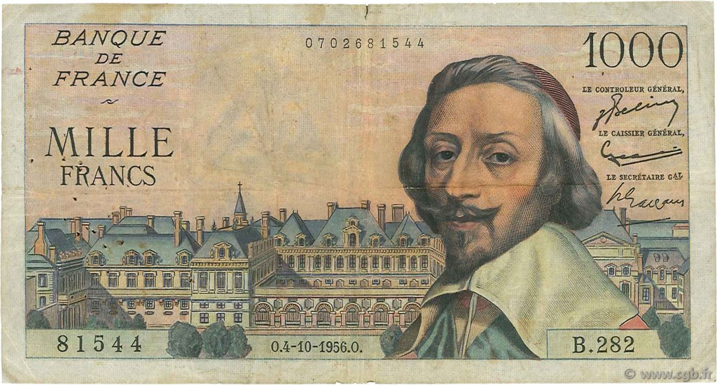 1000 Francs RICHELIEU FRANCE  1956 F.42.22 B