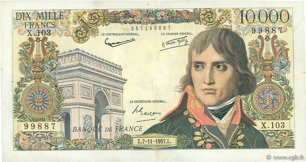 10000 Francs BONAPARTE FRANCE  1957 F.51.10 pr.TTB
