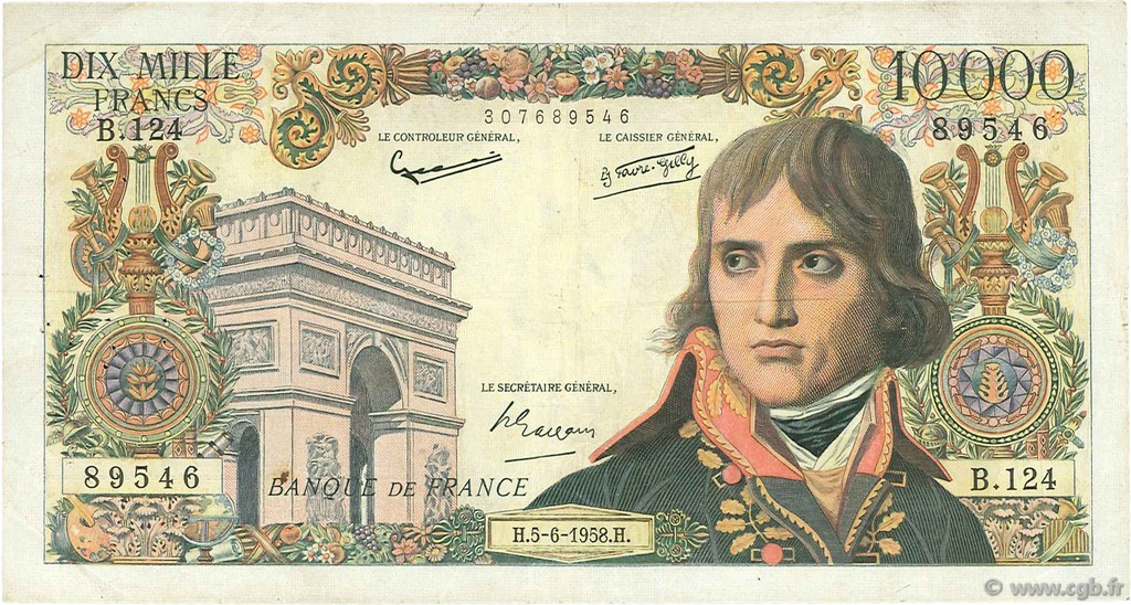 10000 Francs BONAPARTE FRANCE  1958 F.51.12 TB à TTB