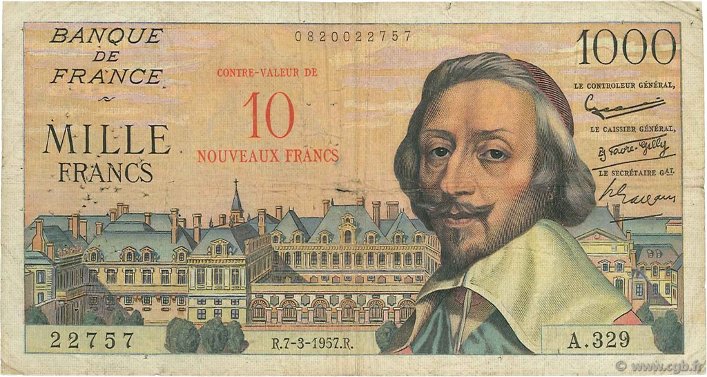 10 NF sur 1000 Francs RICHELIEU FRANCE  1957 F.53.01 B