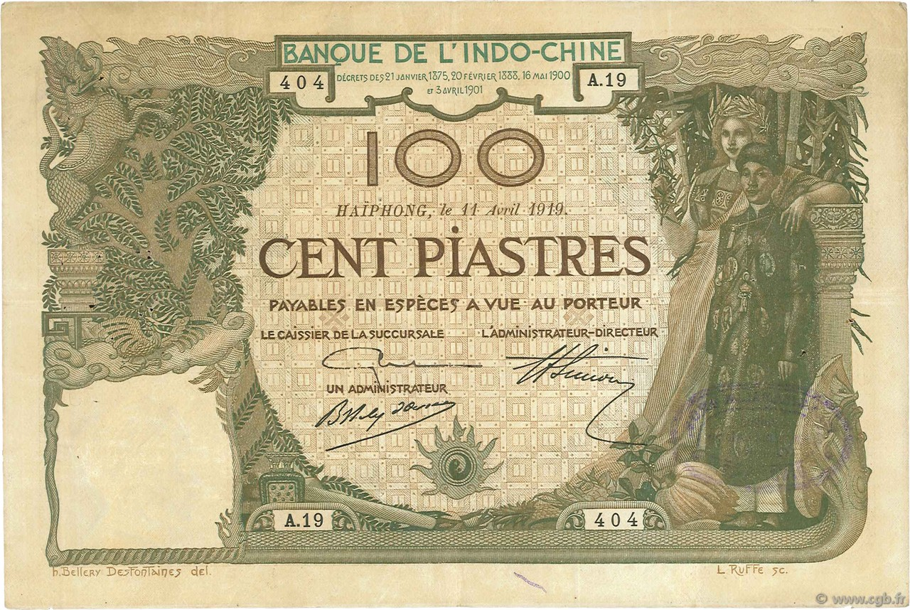 100 Piastres Haïphong INDOCHINE FRANÇAISE  1919 P.018 TB+