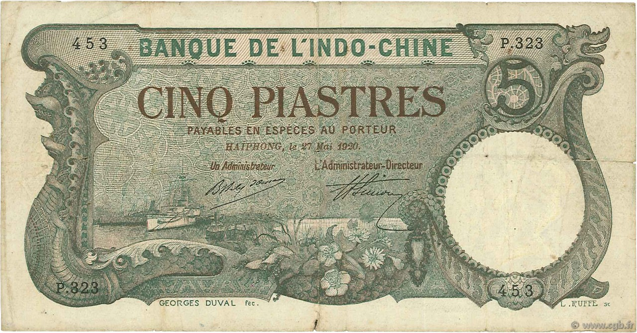 5 Piastres Haïphong INDOCHINE FRANÇAISE  1920 P.019 TB+