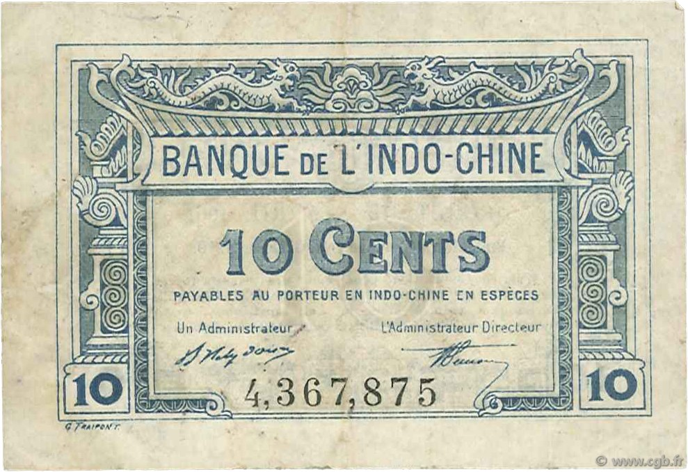 10 Cents INDOCHINE FRANÇAISE  1919 P.043 TTB