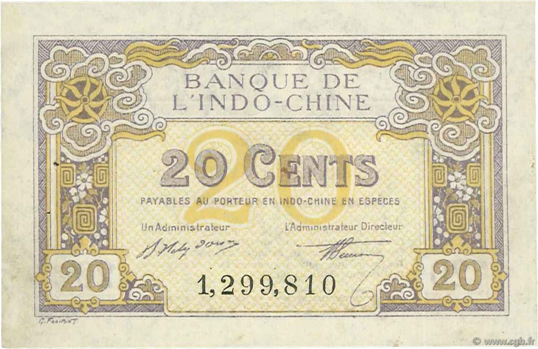 20 Cents INDOCHINE FRANÇAISE  1919 P.045b pr.SPL