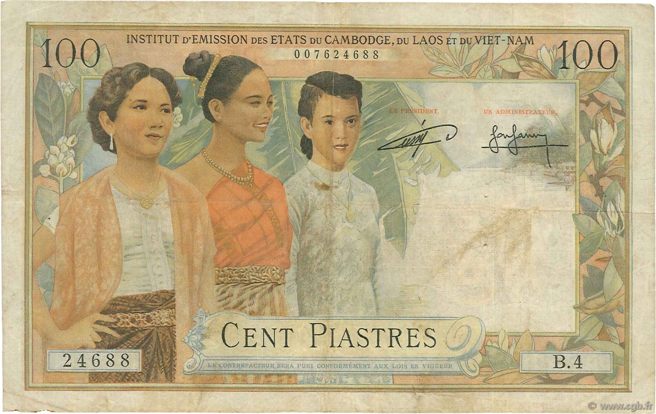 100 Piastres - 100 Riels INDOCHINE FRANÇAISE  1954 P.097 TB