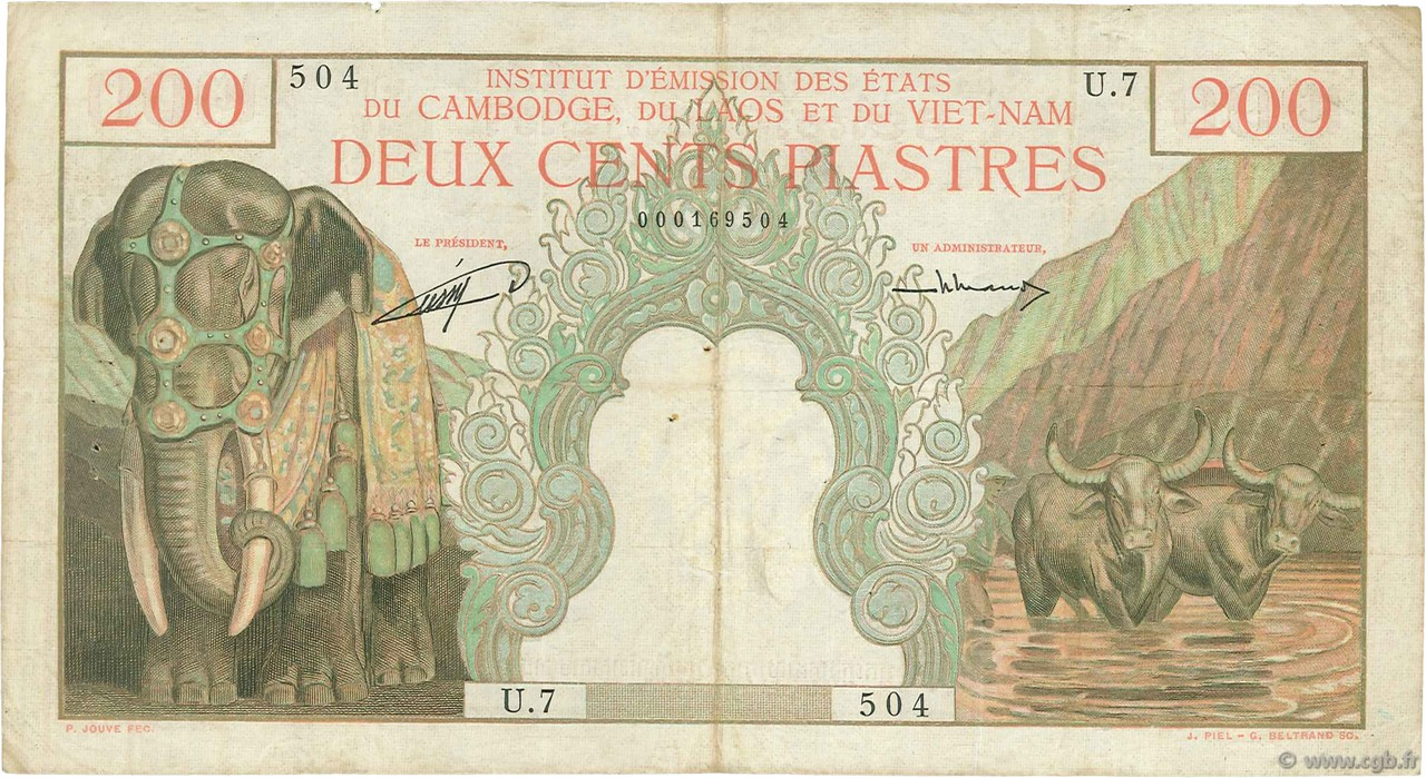 200 Piastres - 200 Riels INDOCHINE FRANÇAISE  1953 P.098 TB