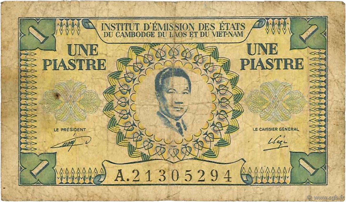 1 Piastre - 1 Dong INDOCHINE FRANÇAISE  1953 P.104 B