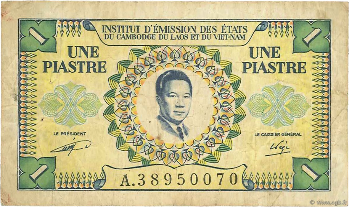 1 Piastre - 1 Dong INDOCHINE FRANÇAISE  1953 P.104 TB
