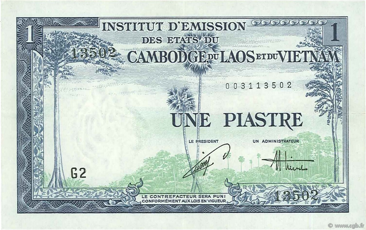 1 Piastre - 1 Dong INDOCHINE FRANÇAISE  1954 P.105 SUP