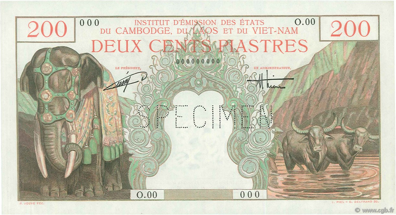 200 Piastres - 200 Dong INDOCHINE FRANÇAISE  1953 P.109s NEUF
