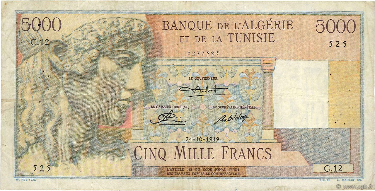 5000 Francs type 1946 statue d Apollon TUNISIE  1949 P.27 TTB