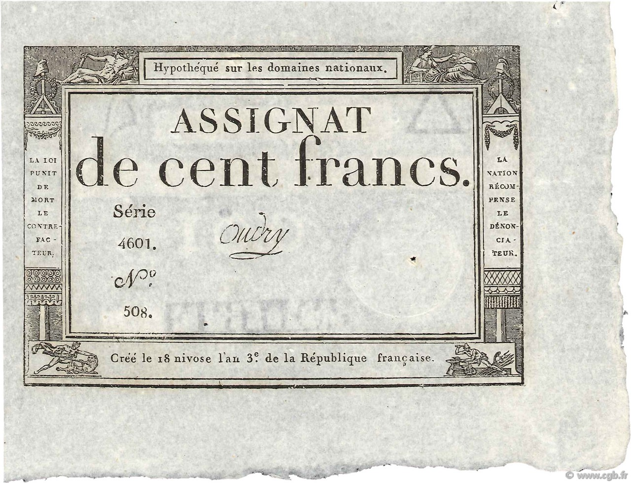 100 Francs FRANCE  1795 Ass.48a SUP