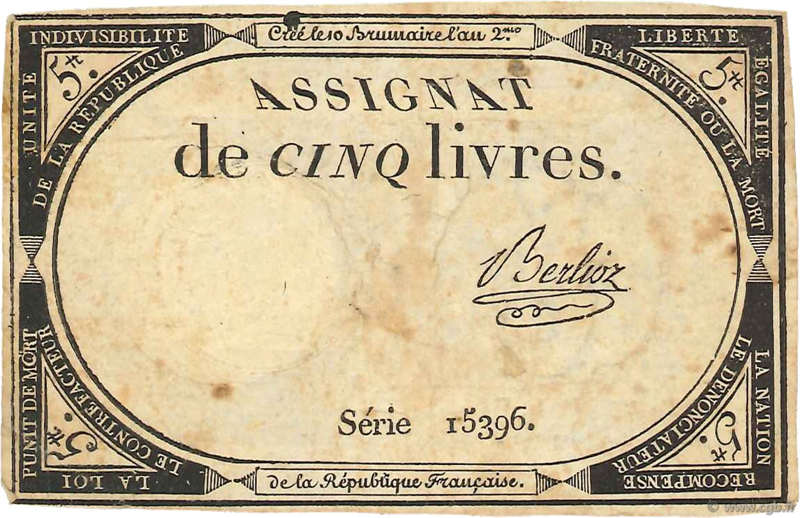 5 Livres FRANCE  1793 Ass.46a TB