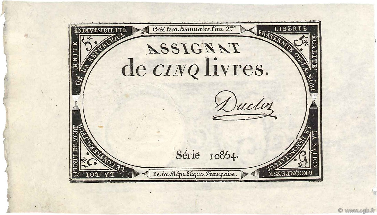 5 Livres FRANCE  1793 Ass.46a SPL