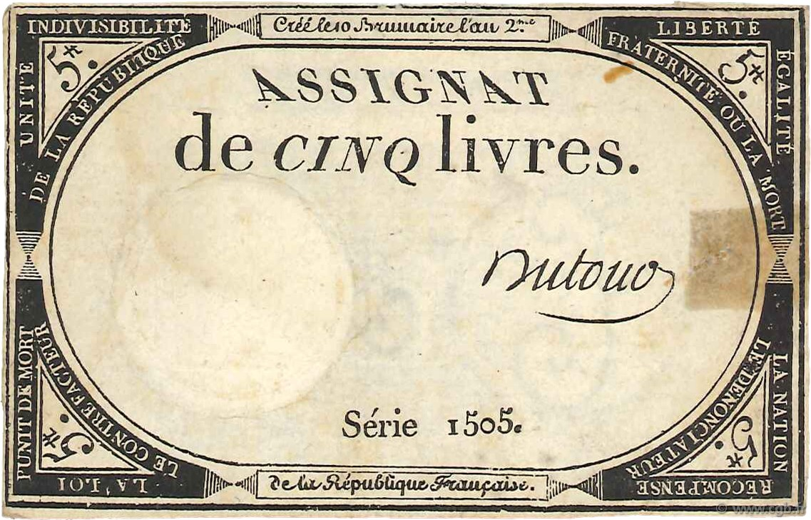 5 Livres FRANCE  1793 Ass.46a TB à TTB