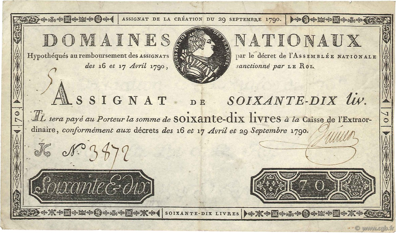 70 Livres FRANCE  1790 Ass.06a pr.TTB
