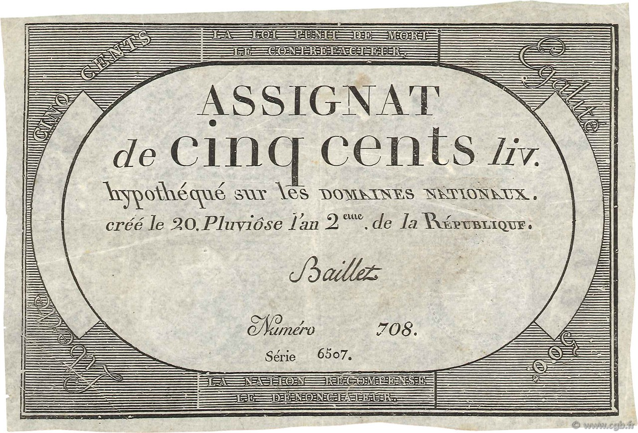 500 Livres FRANCE  1794 Ass.47a TB à TTB