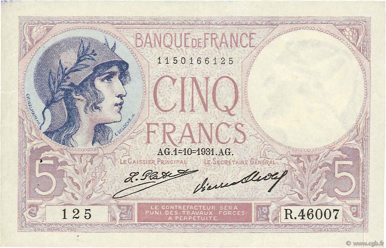 5 Francs VIOLET FRANCE  1931 F.03.15 pr.SUP
