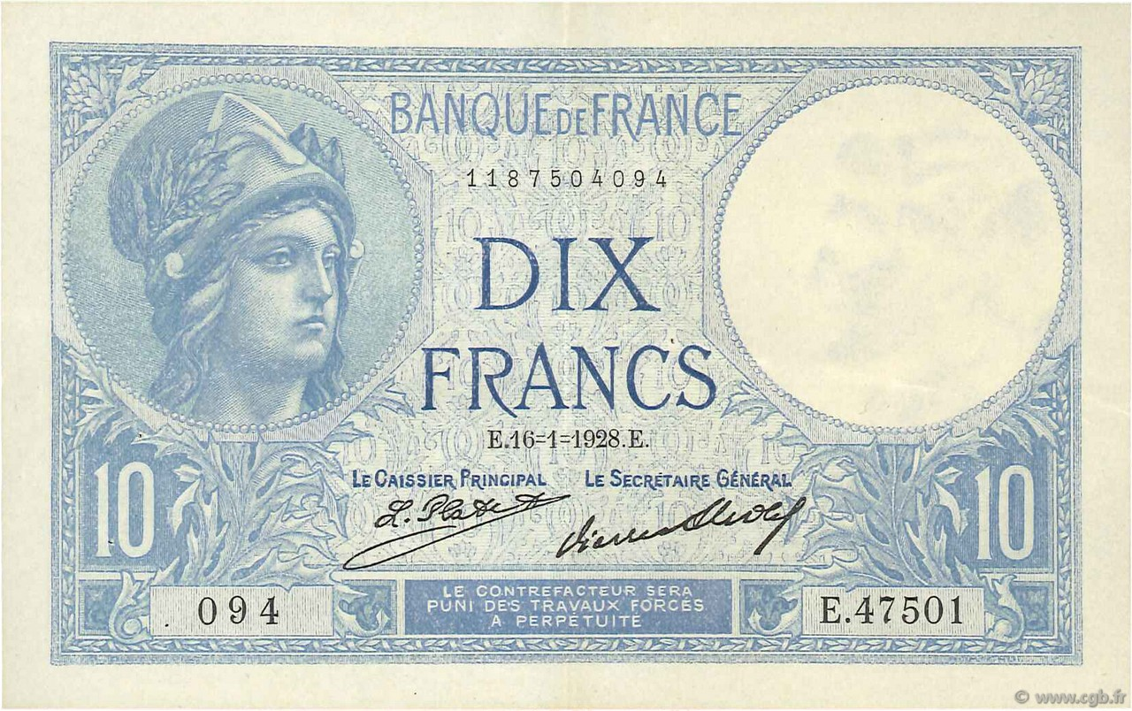 10 Francs MINERVE FRANCE  1928 F.06.13 SUP