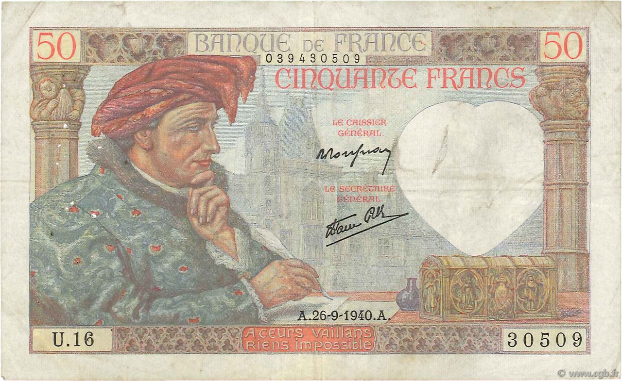 50 Francs JACQUES CŒUR FRANCE  1940 F.19.03 TB+
