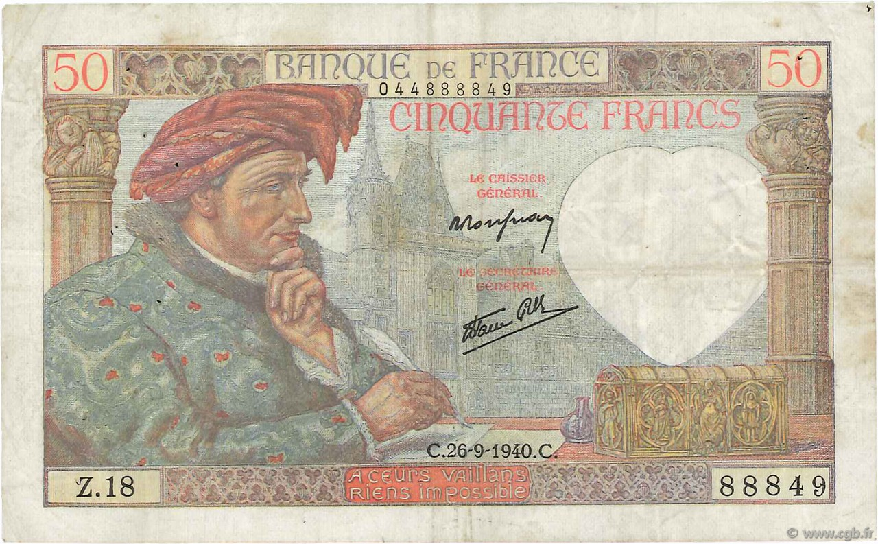 50 Francs JACQUES CŒUR FRANCE  1940 F.19.03 TTB