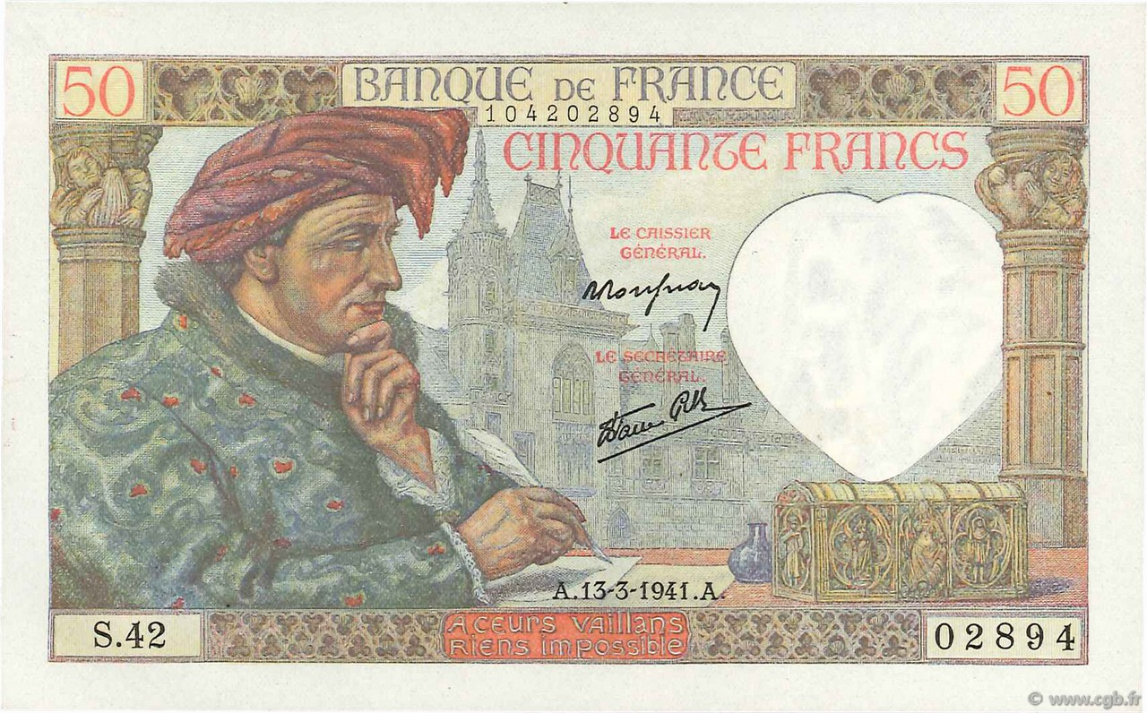 50 Francs JACQUES CŒUR  FRANCE  1941 F.19.07 UNC-
