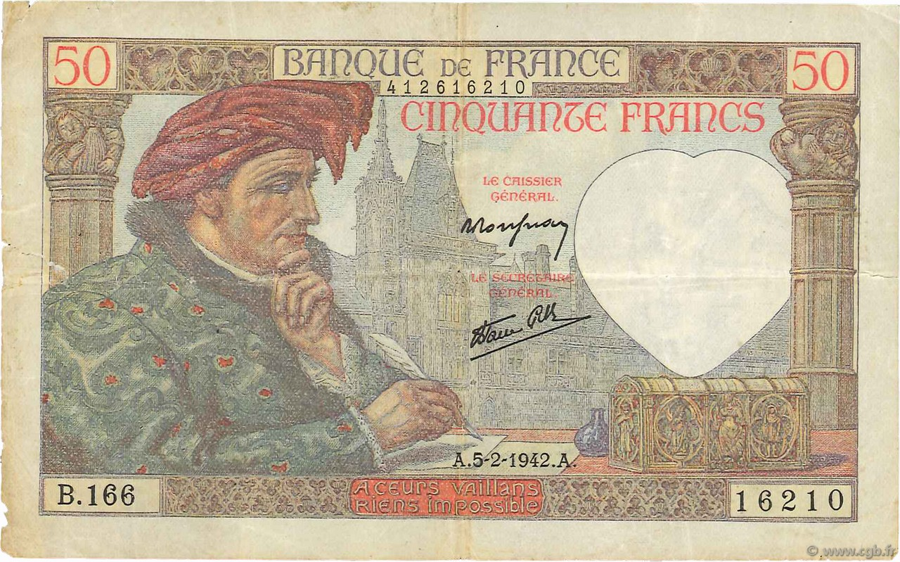 50 Francs JACQUES CŒUR FRANCE  1942 F.19.19 TB