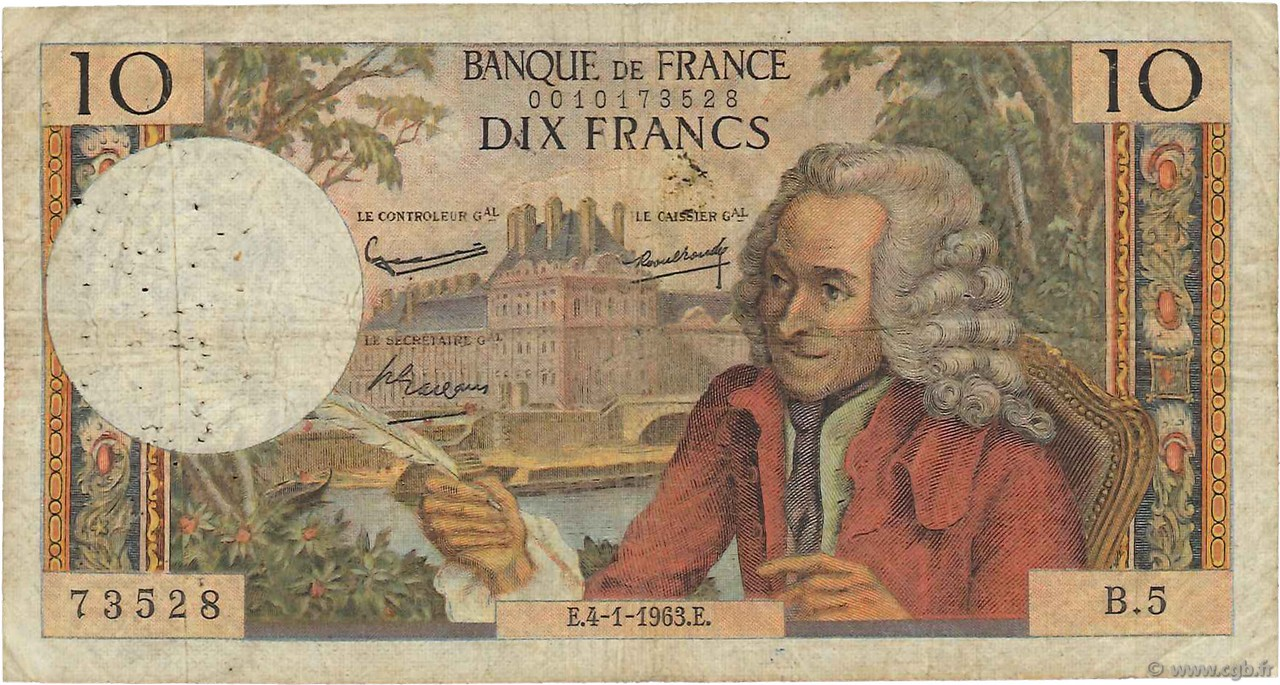 10 Francs VOLTAIRE FRANCE  1963 F.62.01 B