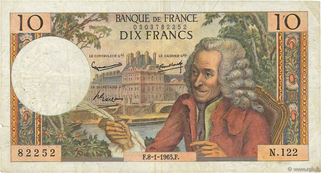 10 Francs VOLTAIRE FRANCE  1965 F.62.12 B+