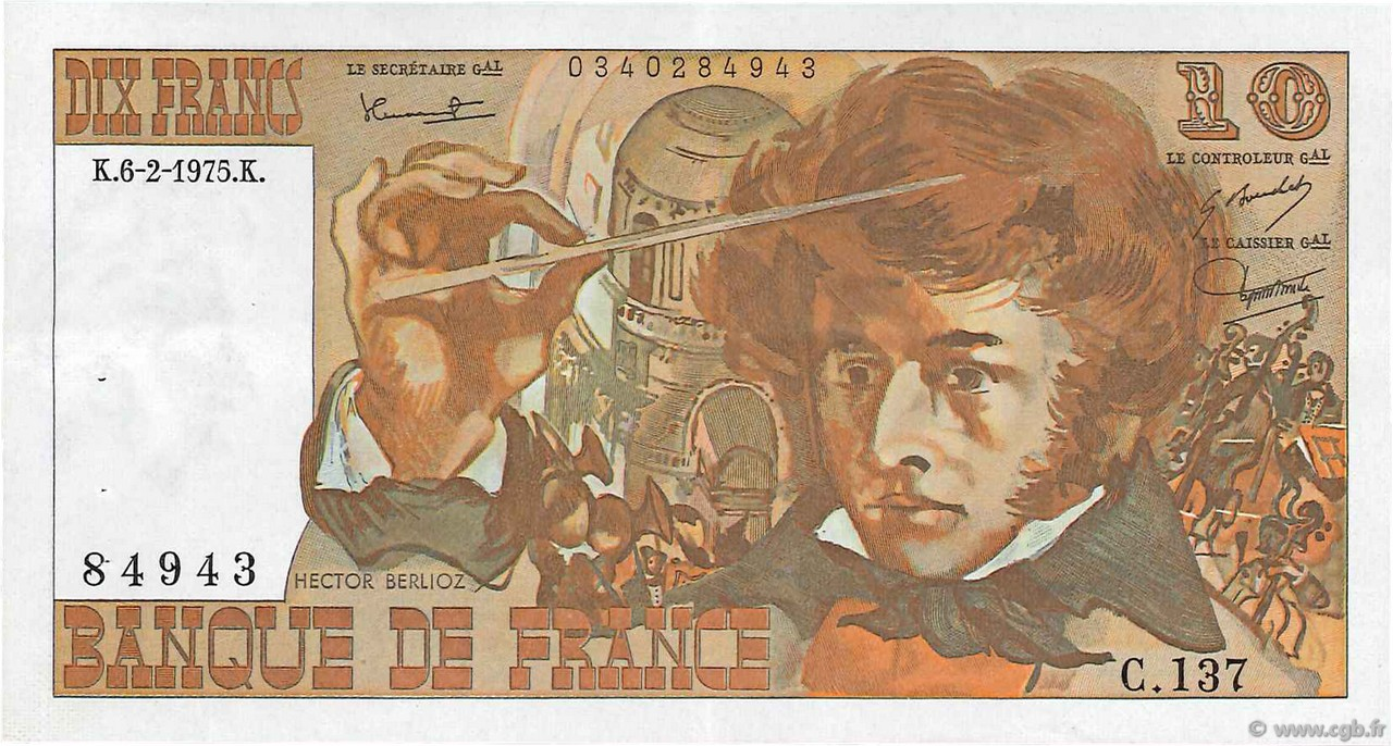 10 Francs BERLIOZ FRANCE  1975 F.63.08 SUP