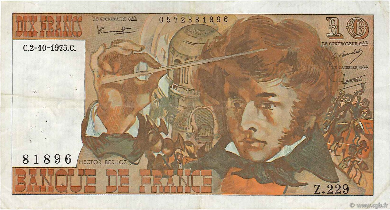 10 Francs BERLIOZ FRANCE  1975 F.63.13 TTB