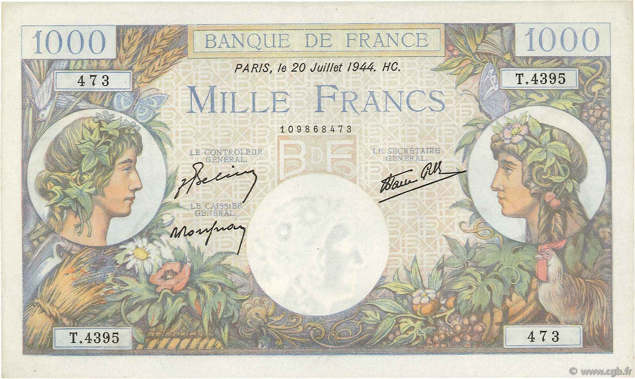 1000 Francs COMMERCE ET INDUSTRIE FRANCE  1944 F.39.12 SPL+