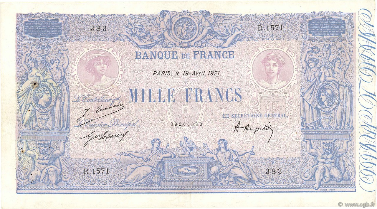 1000 Francs BLEU ET ROSE FRANCE  1921 F.36.37 TTB