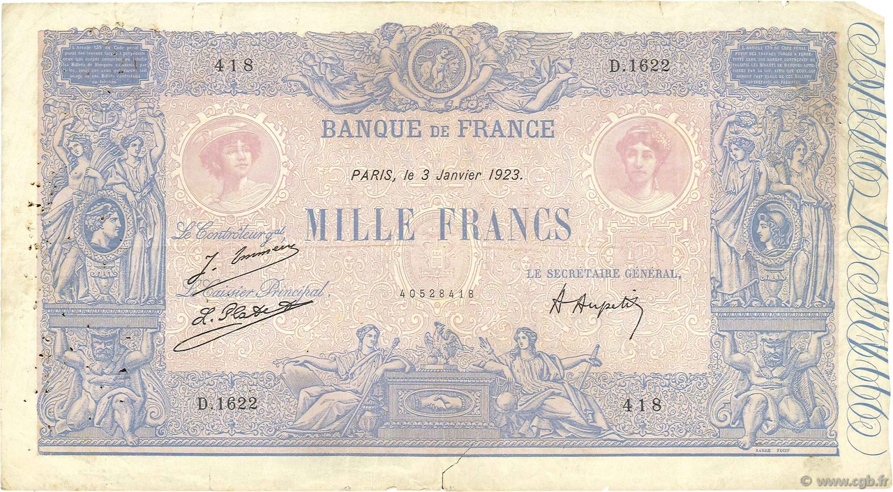 1000 Francs BLEU ET ROSE FRANCE  1923 F.36.39 TB