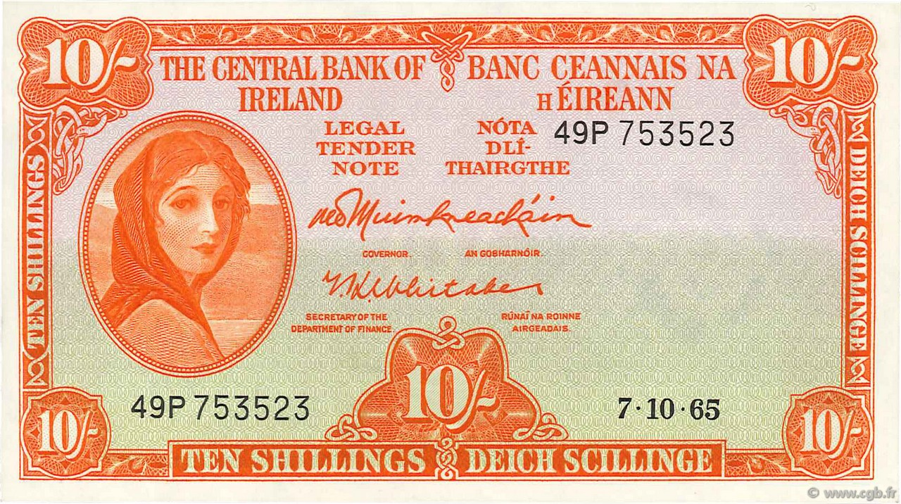 10 Shillings IRLANDE  1965 P.063a SUP