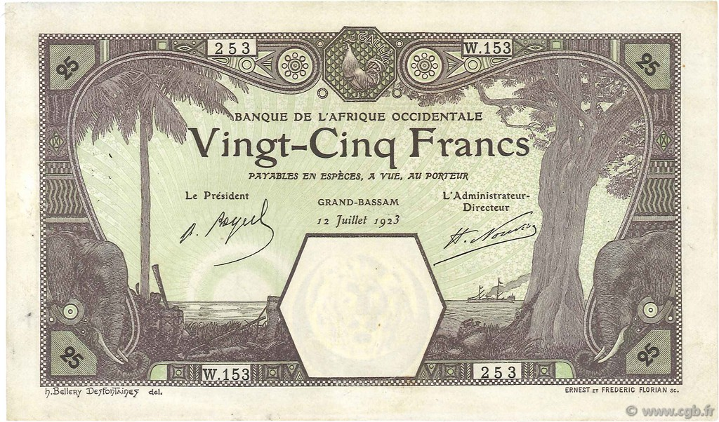 25 Francs GRAND-BASSAM FRENCH WEST AFRICA (1895-1958) Grand-Bassam 1923 P.07Db VF+