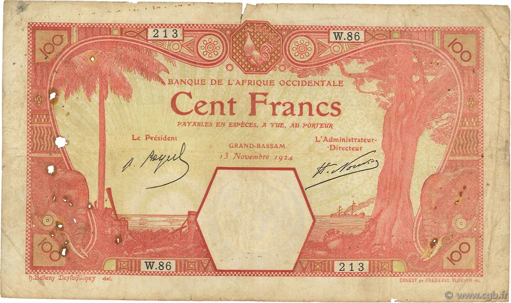 100 Francs GRAND-BASSAM  AFRIQUE OCCIDENTALE FRANÇAISE (1895-1958) Grand-Bassam 1924 P.11Dd B