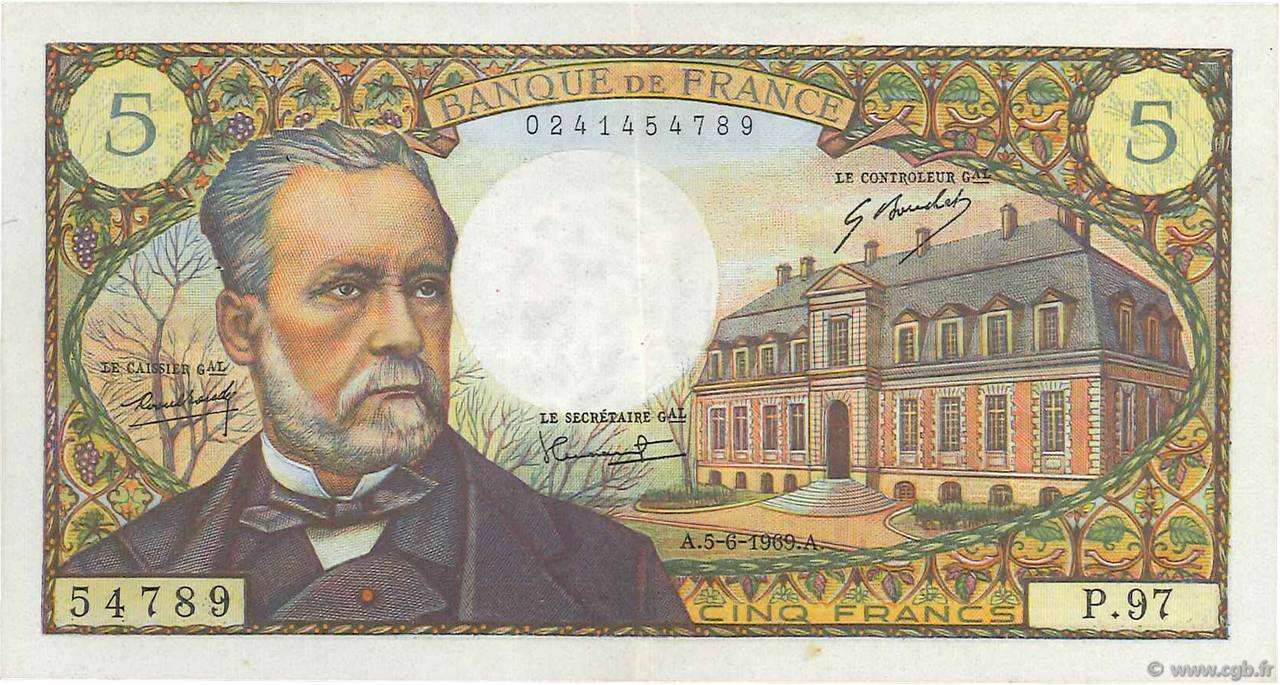 5 Francs PASTEUR FRANCE  1969 F.61.10 pr.SUP