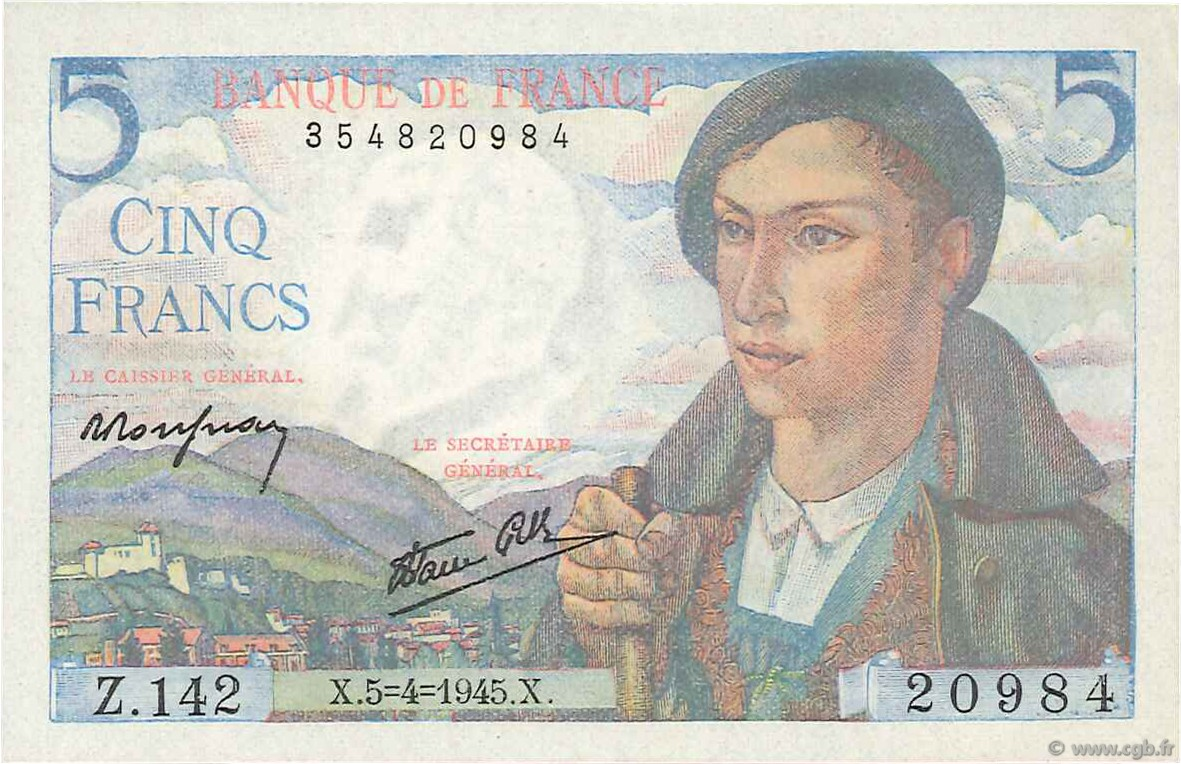 5 Francs BERGER FRANCE  1945 F.05.06 SPL