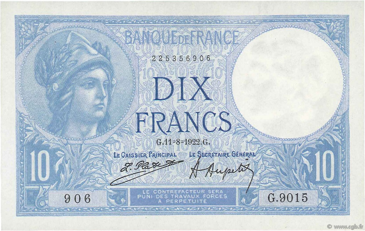 10 Francs MINERVE FRANCE  1922 F.06.06 SUP