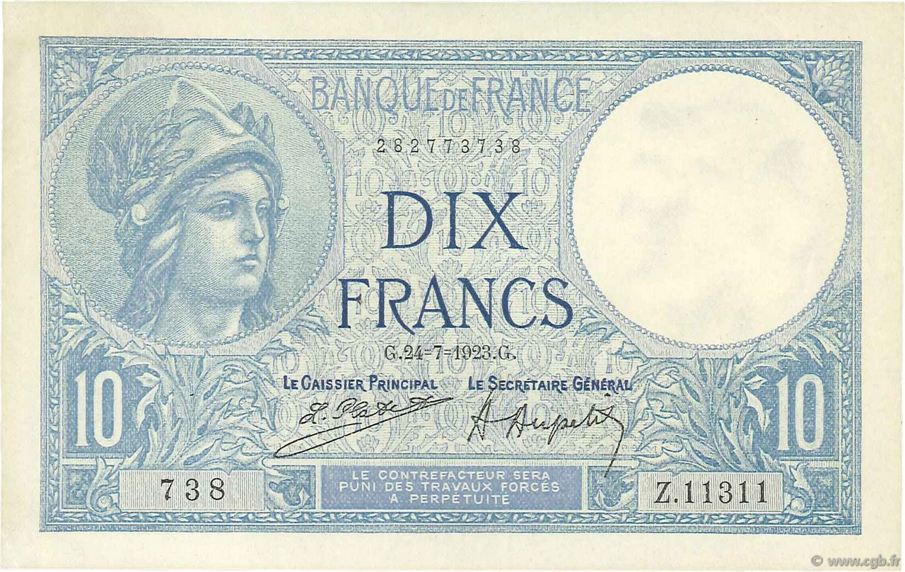 10 Francs MINERVE FRANCE  1923 F.06.07 SUP+