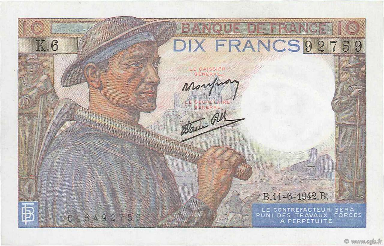 10 Francs MINEUR FRANCE  1942 F.08.03 SPL