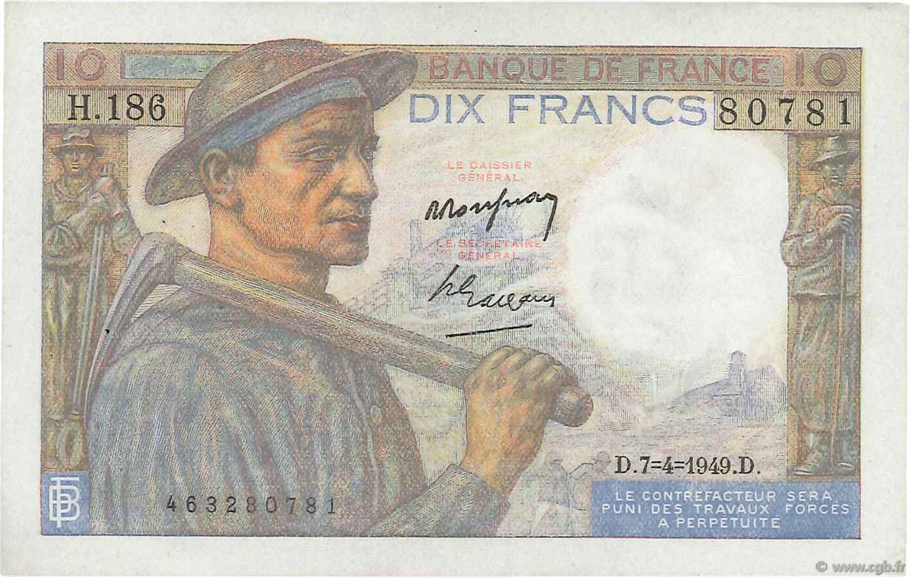 10 Francs MINEUR FRANCE  1949 F.08.21 SUP