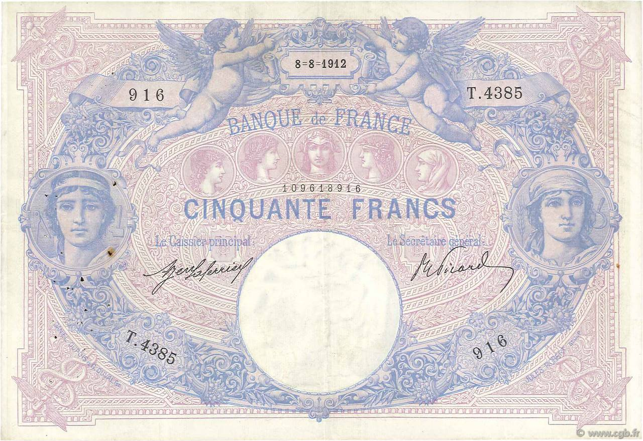 50 Francs BLEU ET ROSE FRANCE  1912 F.14.25 TTB
