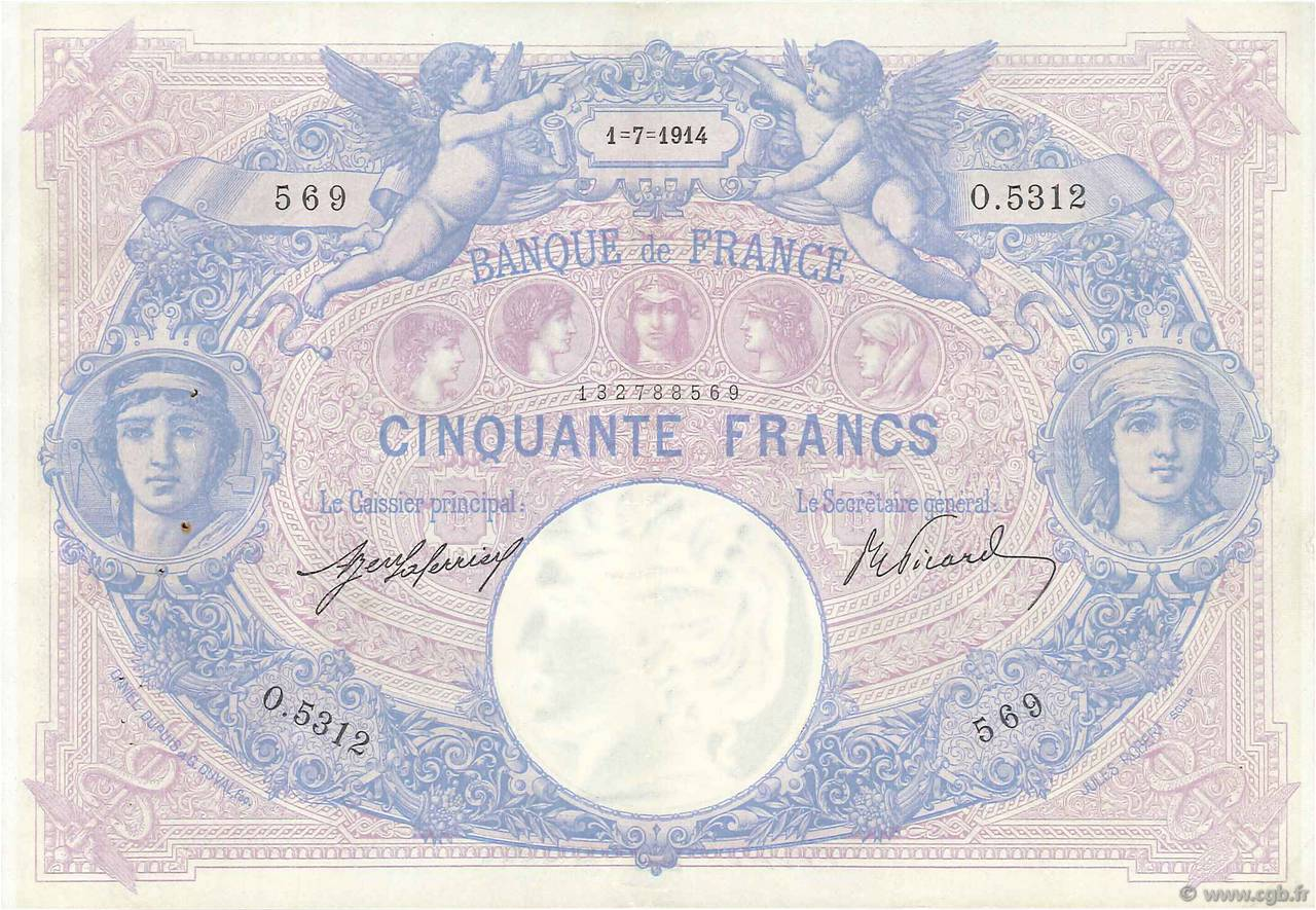 50 Francs BLEU ET ROSE FRANCE  1914 F.14.27 TTB+