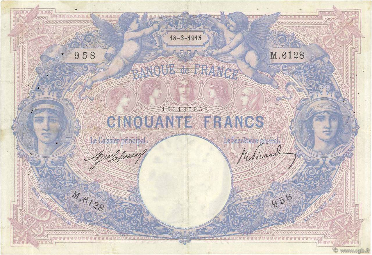 50 Francs BLEU ET ROSE  FRANCE  1915 F.14.28 TTB
