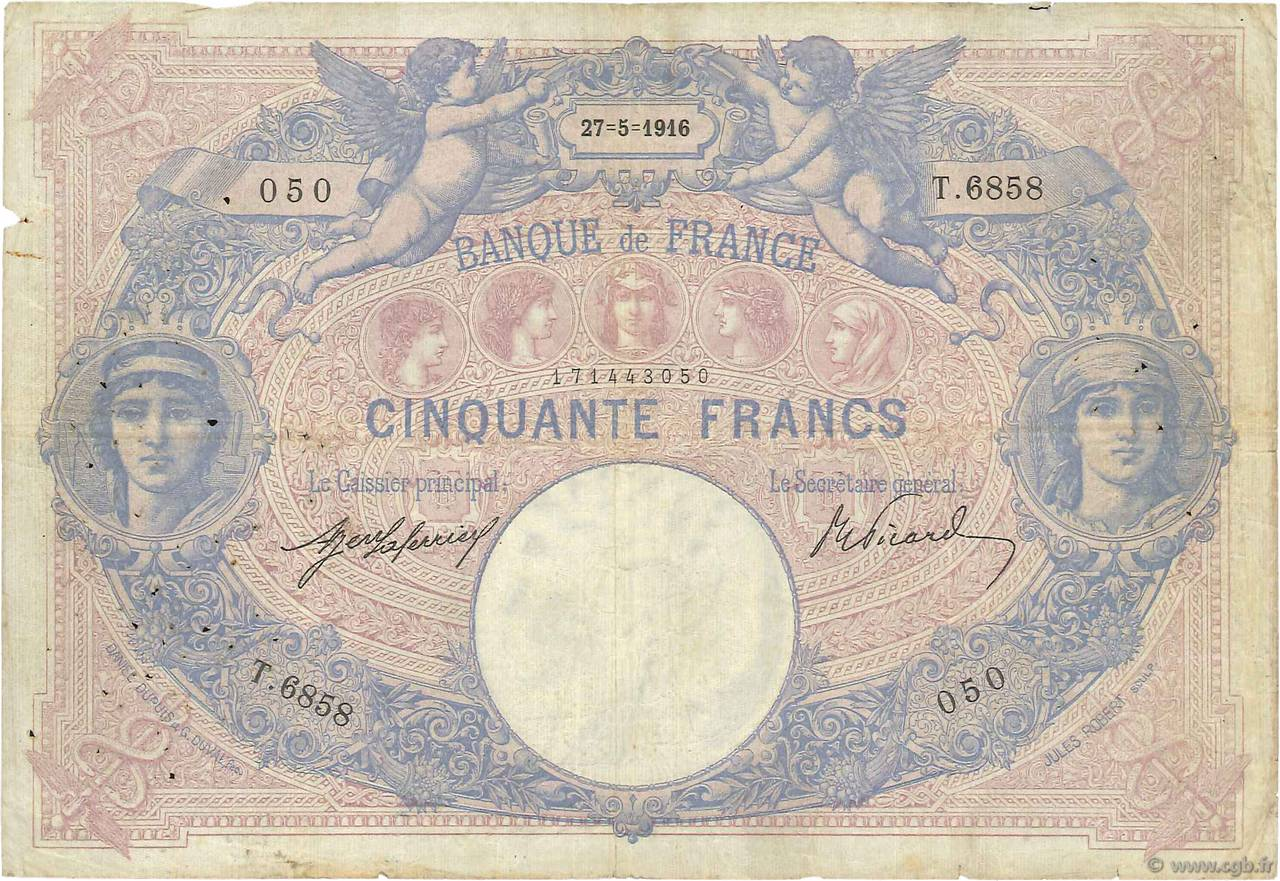 50 Francs BLEU ET ROSE FRANCE  1916 F.14.29 B