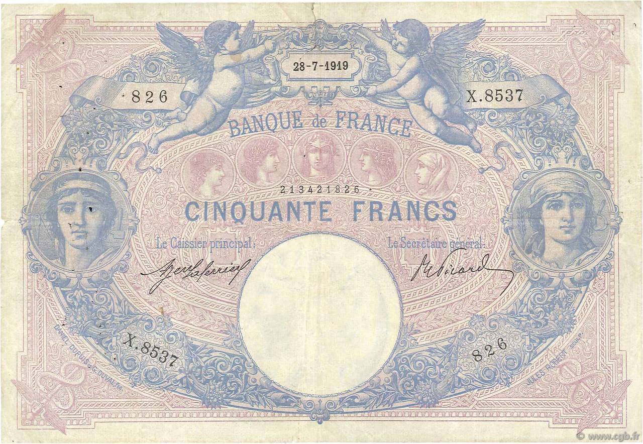 50 Francs BLEU ET ROSE FRANCE  1919 F.14.32 pr.TTB