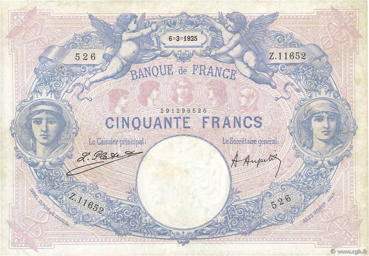 50 Francs BLEU ET ROSE FRANCE  1925 F.14.38 pr.TTB